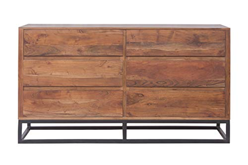 TUP The Urban Port UPT-182996 Modern Acacia Wood Dresser or Display Unit with Metal Base, Walnut Brown and Black