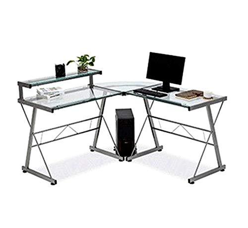 Modern Computer Desk L-Shape Corner Home Office Laptop Glass Pc Table Workstation Furniture Study Room Corner Writing Student Shelf Wood Black 1Pc 57.5''x 56''x 36''