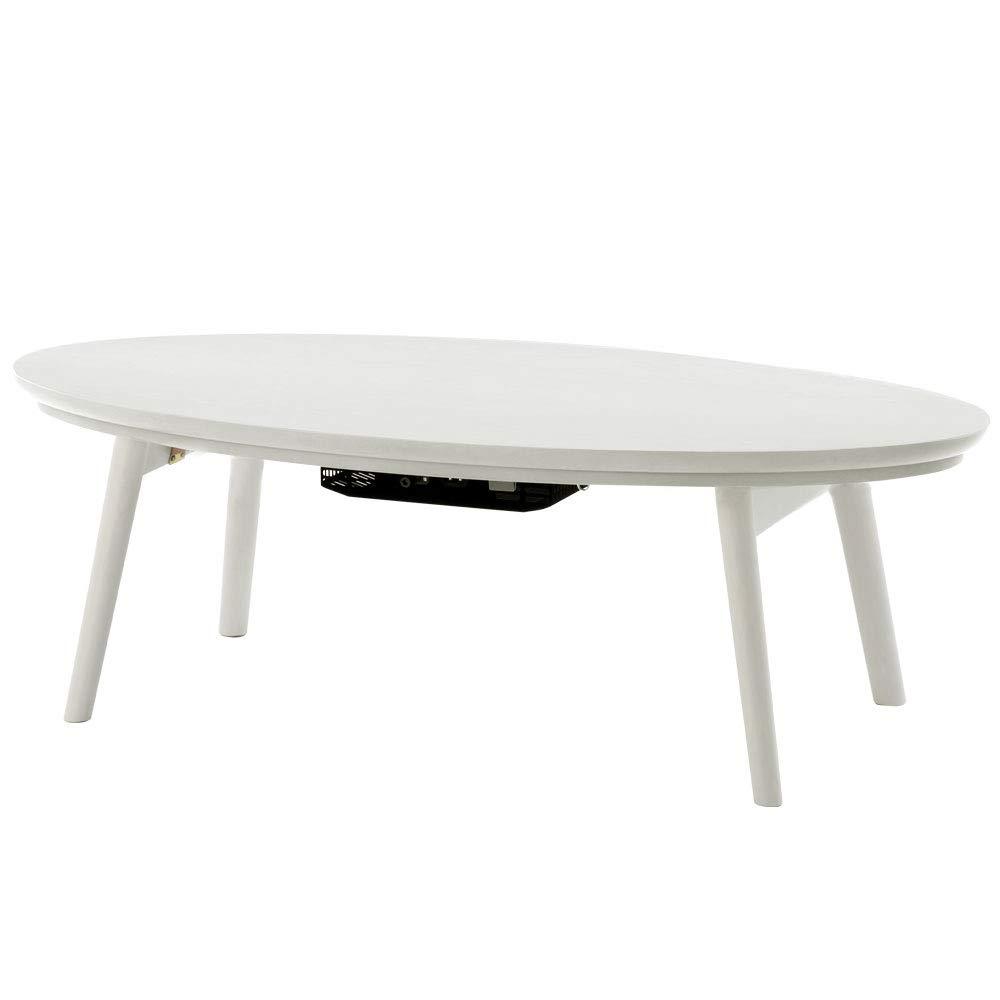 ぼん家具 完成品 折りたたみ こたつ オールシーズン テーブル ちゃぶ台 机 丸型 〔楕円形直径120cm〕 ホワイト B07JF976YR ホワイト