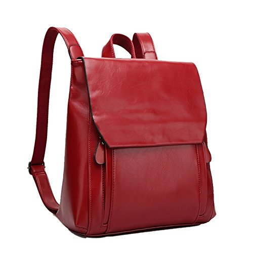 - HOBOP JHB700025 Fashion Genuine Leather College Wind Women's Handbag,Square Cross-Section Backpack (C4)