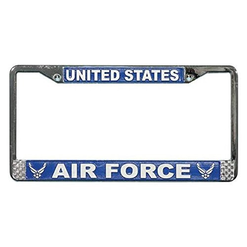 Air Force Plate - US Air Force License Plate Frame (Chrome Metal) by Mitchell Proffitt