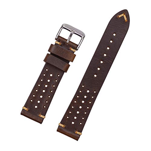 Leather Watch Bands for Men,EACHE Rally Racing Perforated Leather Watch Bands Oil Waxed & Suede Calfskin Breathable Design 18mm 20mm 22mm