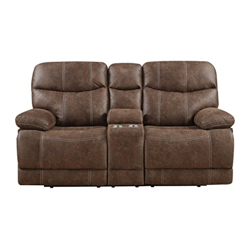 Emerald Home Earl Brown Loveseat with Faux Leather Upholstery, Dual Reclining Seats, And Pillow Arms ()