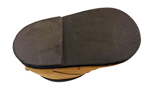 Image of Baby Boy Hiking Work Outdoor Boot Crib Shoes, Hard Sole, Brown with Red Elastic Laces (1 (3-6 Months))