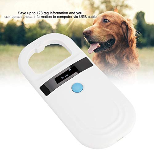Microchip Reader RFID 134 2Khz, Pet ID Microchip Scanner 0 91 Inch High  Brightness OLED Display 128 Pieces Tag Information Storage Animal Tracking
