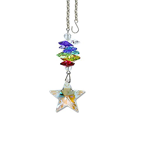 Crystal Suncatcher 3 inch Crystal Ornament Aurora Borealis Faceted Star Prism Colorful Cascade Prisms Rainbow Maker Made with Genuine Swarovski Crystals -