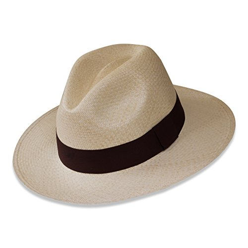 Tumia - Fedora Panama Hat - Natural with Brown Band - Non-Rollable Version. 57cm.
