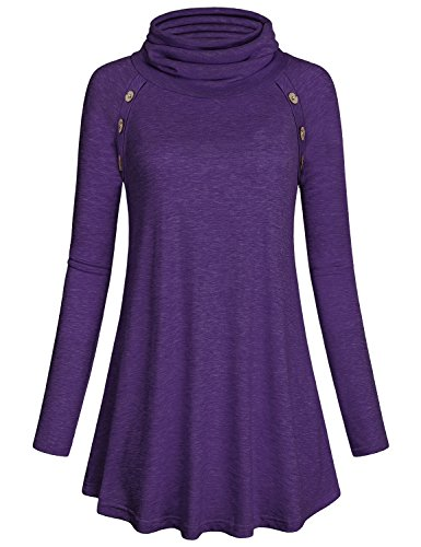 Lightweight Tunic Sweatshirt ,Kimmery Womens Casual Long Sleeve Feminine Mock Neck Jersey Shirts and Blouse Nice Raglan Vintage Button Down Basic Tops Knits Pleats Flows Hem Sweaters Purple Medium