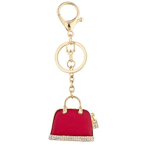 Lux Accessories Gold Tone Red Pave Rhinestone Novelty Purse Bag Charm ()