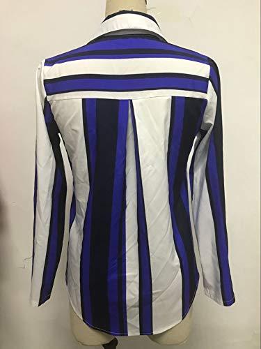 Bleu Femmes Blouses Tops Hauts et Revers Longues Legendaryman T Chemises Casual Automne Mode Shirts Rayure Shirts Tee Manches Chemisiers Printemps wAHxxTqtp