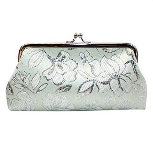 Byyong Women Retro Embroidery Flower Tote Short Wallet Fashion Hasp Handbags Coin Purse Card Holders Bags(Green)