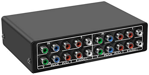 Component Video Switcher - Aobelieve 3-Way Component Switch RGB Switcher 3 in 1 Out YPbPr Video L/R Audio Selector Box for PS2 PS3 Xbox 360 Wii DVD Game Consoles