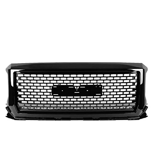 AA Products Sport Square Mesh Grille Compatible GMC Sierra 1500 2014 up to 2015 Front Hood Bumper Grill Grille ABS Gloss Black (Grill Sierra Denali Gmc)