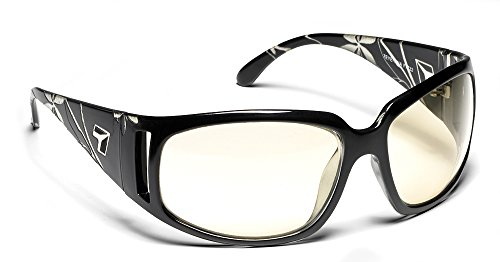 View Clear Lens - 7eye by Panoptx Tina Frame Sunglasses with Sharp View Clear Lens, Etched Black, Small/Medium