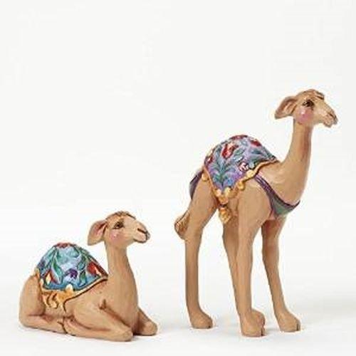 Jim Shore Heartwood Creek Mini Stone Resin Camel Figurines Set of Two, 4.25