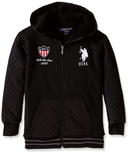 (U.S. Polo Assn. Boys' Big Sherpa-Lined Taslon and Fleece Jacket, Black, 14/16)