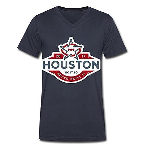 Men's Super Bowl 51 Li Houston 2017 V-Neck Tee Shirts Navy (Houston Crib)