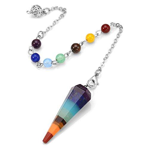 (Top Plaza 7 Chakra Reiki Healing Dowsing Crystal Pendulum Hexagon Point Stones Pendant)