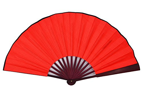 Amajiji 13''(33cm) The blank Chinease/Japanese Hand Held Silk Folding Fan with Bamboo Frame,Chinese Style Men Bamboo Folded Fans Hand Held Props for Dancing (red)