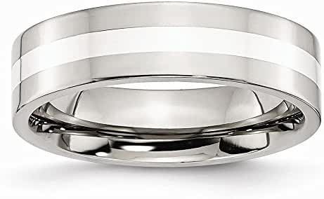 Chisel Stainless Steel Sterling Silver Inlay Flat 6mm Polished Band