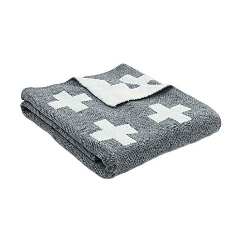 MiMiXiong Baby Blankets Knitted Double Layer Soft Cellular Pram Blankets,Cross Swiss Pattern (Grey)