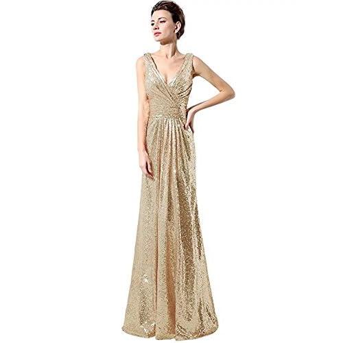 Cheap Lanierwedding Gold Sequins Bridesmaid Dresses Plus Size Prom