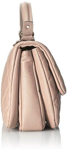 vera pelle Italy elegante Borsa Rosa da trapuntata a Cm donna in made 28x20x15 in CTM mano U08qw8H