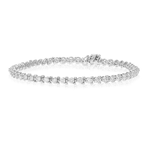3 CT Diamond Bracelet 3-Prong Style 14K White Gold by Vir Jewels