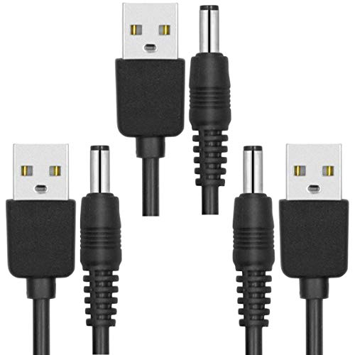 [3-Pack] USB 2.0 Male to DC Power Cable, [1m / 3.3ft] Barrel Jack Plug Connector 5V Extender Cord for Socket Mobile Charger Supply Splitter Adapter Extension (5.5x2.1mm, Black/1m)