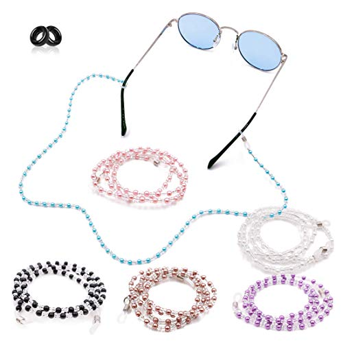 Kalevel Eyeglass Chain Holder Glasses Strap Beaded Sunglass Chain Women with Bonus 2pcs Anti Slip Eyewear Retainer (White)