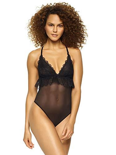 Jezebel by Felina | Melanie Lace & Mesh Bodysuit | Lingerie | Casual (X-Large) Black