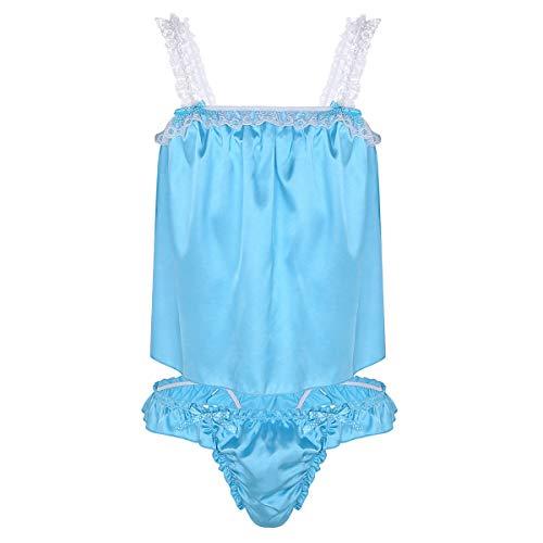 MSemis Men Sissy Nightwear Shiny Satin Camisole Bra Tops Ruffle Pouch Panties Thong Lingerie Sets Blue Medium (Waist 17.0
