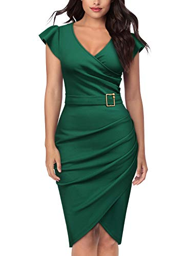 - Knitee Women's Elegant V-Neck Criss Cross Evening Party Cocktail Bodycon Sheath Pencil Dress