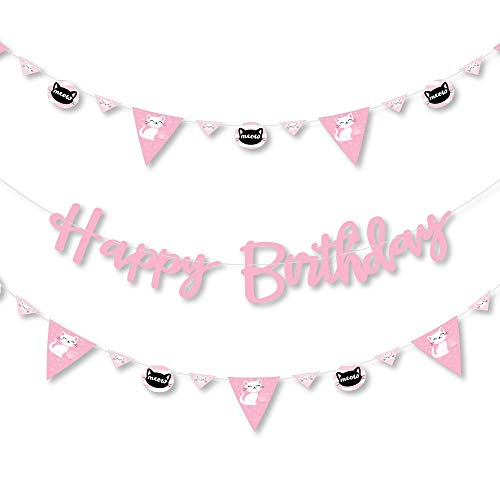 Big Dot of Happiness Purr-FECT Kitty Cat - Kitten Meow Birthday Party Letter Banner Decoration - 36 Banner Cutouts and Happy Birthday Banner Letters (Kitten Purr Fect)