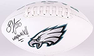 Brian Dawkins Autographed Signed Philadelphia Eagles Logo Football INSCRIBED WEAPON X Radtke COA & Hologram w/photo from signing