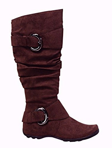 S Boots Calf Mid Slouch Buckle Merger Hidden Decorative Tobacco Heel Women's 6zUd7nqWw