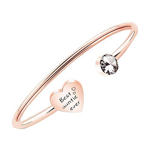 PLITI Aunt Jewelry Gift Best Auntie Ever Bracelet Gift from Niece Nephew (Rose Gold)