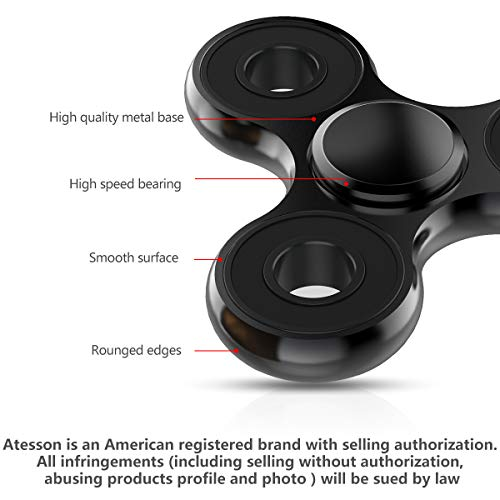 ATESSON Fidget Spinner Toys, Durable High Speed Bearing Metal Hand Finger Spinners EDC ADHD Focus Anxiety Stress Relief Boredom Killing Time Toys for Kids Adults