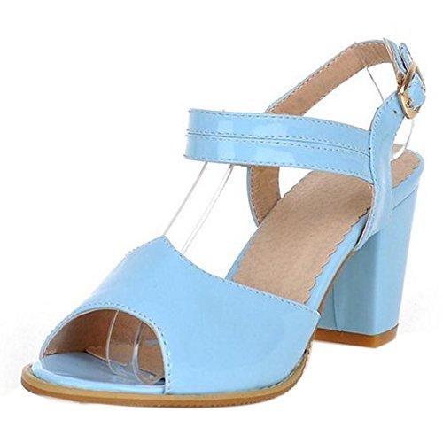 Femmes Cheville Talons Toe Bloc Peep Sandales TAOFFEN Bleu Sangle Chaussures De Moyen Classique UqnCwax4
