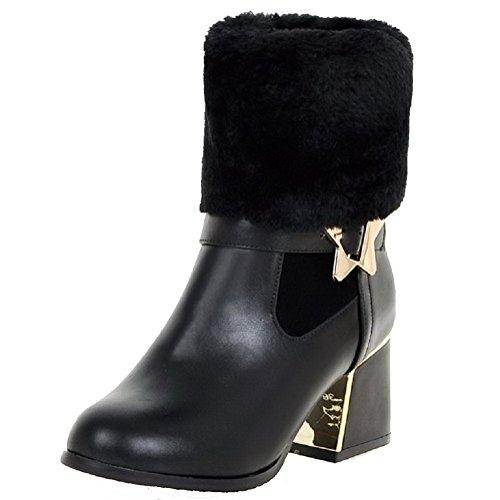 AllhqFashion Womens Soft Material Round Closed Toe Solid Low-top Kitten-Heels Boots Black SkqXrKMf