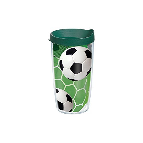 Tervis Soccer Wrap Tumbler with Green Lid 16-Ounce [並行輸入品] B07NBR2KTF