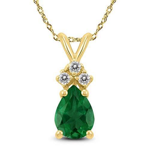 14K Yellow Gold 6x4MM Pear Emerald and Diamond Pendant