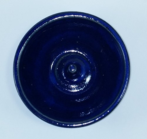 Aunt Chris' Pottery - Hand Made Clay - Individual Apple Baking and Serving Dish - With Molden-in - Fast Baking Spike - In the Center - Cobalt Blue Colored Glazed (Colored Baking Clay compare prices)
