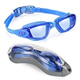 Aegend BLUE Swim Goggles Swimming Goggles No Leaking Anti Fog UV Protection Triathlon Swim Goggles with Free Protection Case for Adult Men Women Youth Kids Child