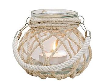 """meindekoartikel Windlicht """"Maritim"""" im Fischnetz zum Hängen aus Glas (Ø14xH16cm)"""