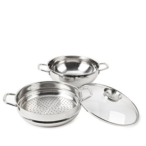 Wolfgang Puck 12 Inch Chef's Pot with Steamer Insert and Basting Lid