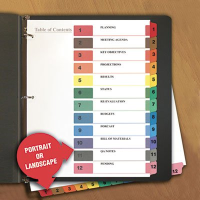 Universal 24806 Table of Contents Dividers, Assorted Color 12-Tab, 1-12, Letter, White, 6/PK ()