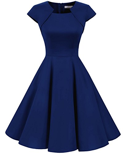 Sleeve Dress Satin - Homrain Women's 1950s Retro Vintage A-Line Cap Sleeve Cocktail Swing Party Dress Royal Blue M