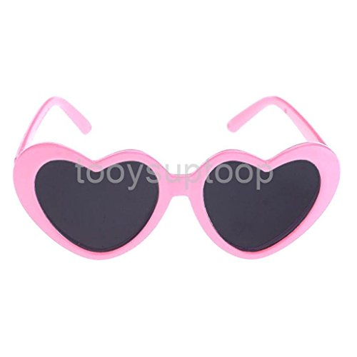 VIPASNAM-Dolls Pink Heart Glasses Sunglasses for 18'' American Girl Dolls - Sunglasses Baby Audrey Celine Black