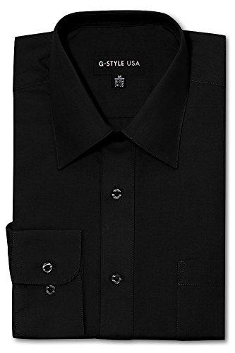 Color Shirt Black Pants (G-Style USA Men's Regular Fit Long Sleeve Solid Color Dress Shirts - Black - 2X-Large - 34-35)